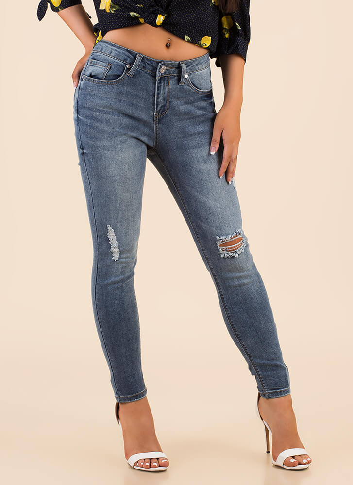 A Little Distressed Denim Skinny Jeans BLUE