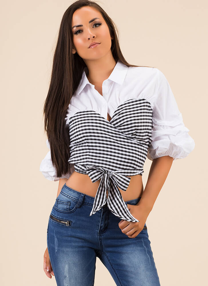 Country Couture Collared Gingham Top WHITEBLACK