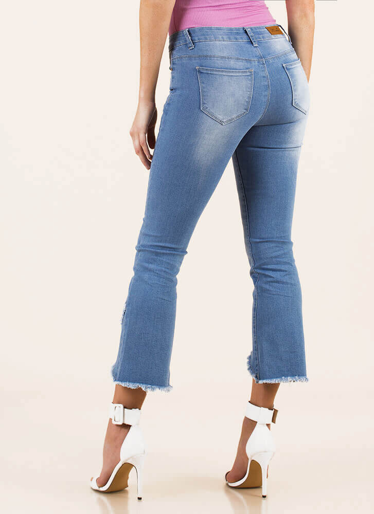 Flare Up Cropped Tulip Hem Jeans LTBLUE