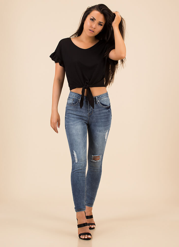 Knot A Care In The World Ruffled Top BLACK