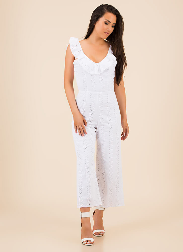 Open Your Eyelets Ruffled Jumpsuit WHITE