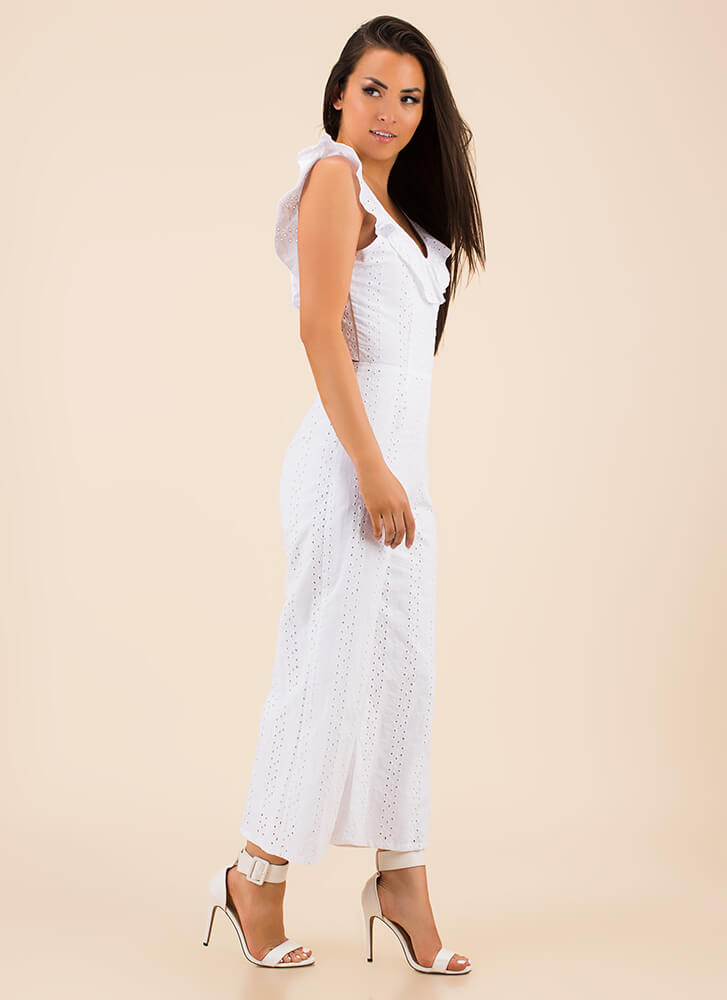 Open Your Eyelets Ruffled Jumpsuit WHITE (Final Sale)
