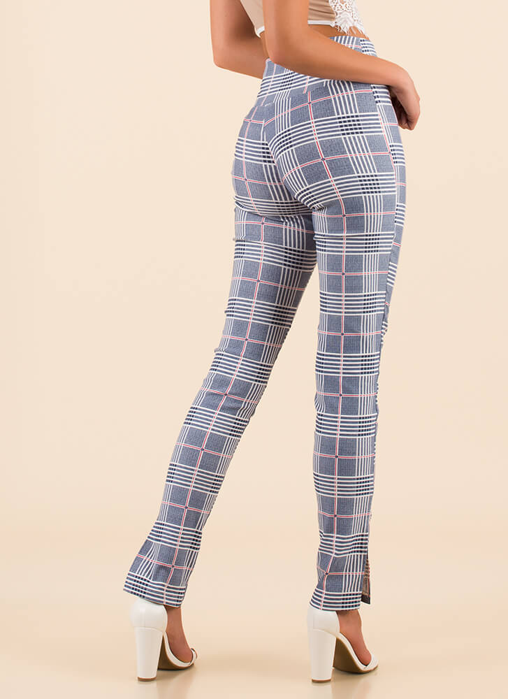 Grid To Be Alive Slit Plaid Pants NAVY