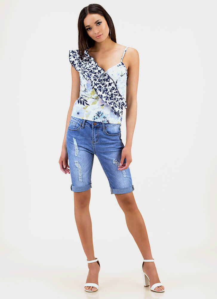 Win The Sash Ruffled Floral Tank Top BLUEMULTI