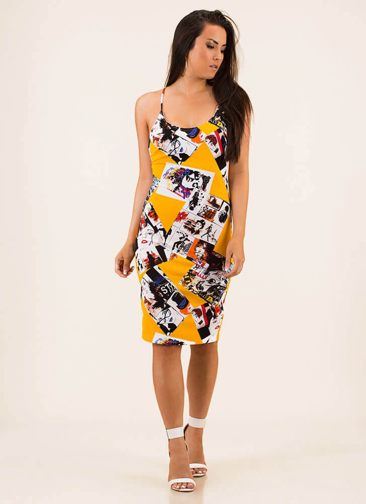 Photo Op Poster Print Midi Dress YELLOW