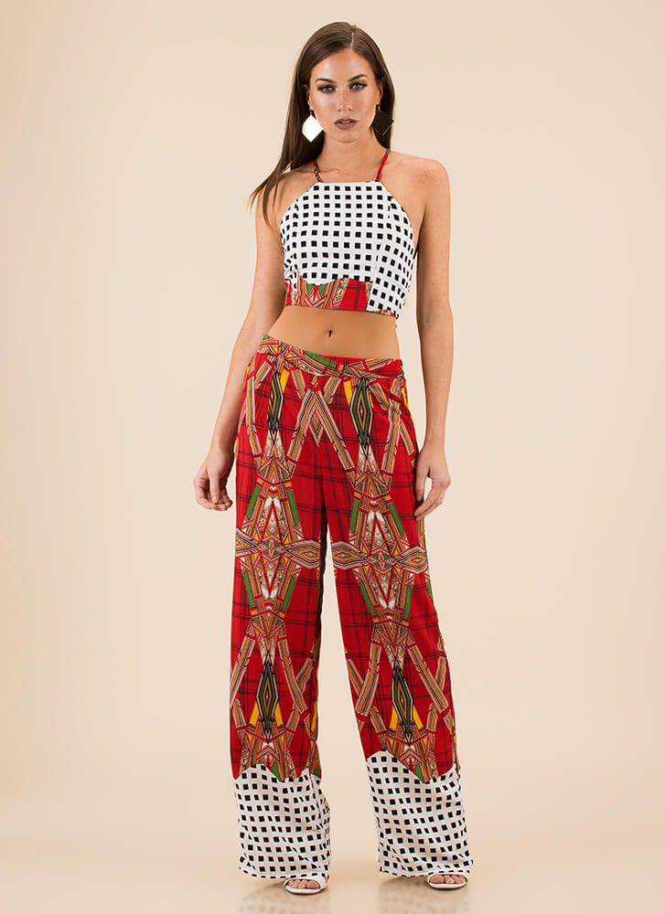 Finding My Prints Top And Pant Set RED