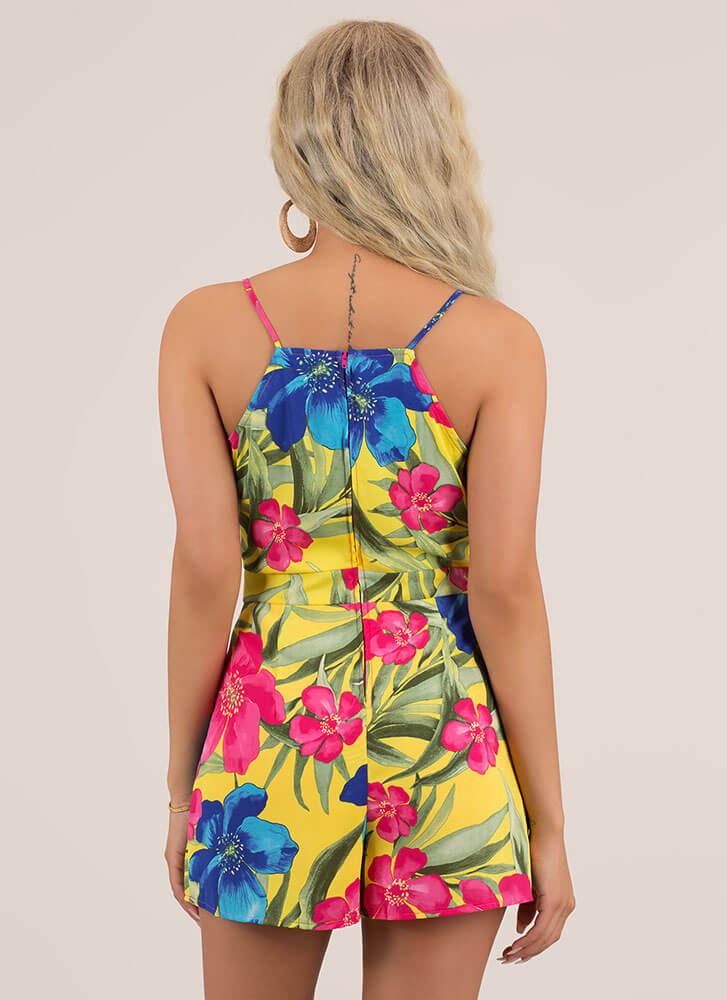 Island Flowers Tropical Pleated Romper YELLOW