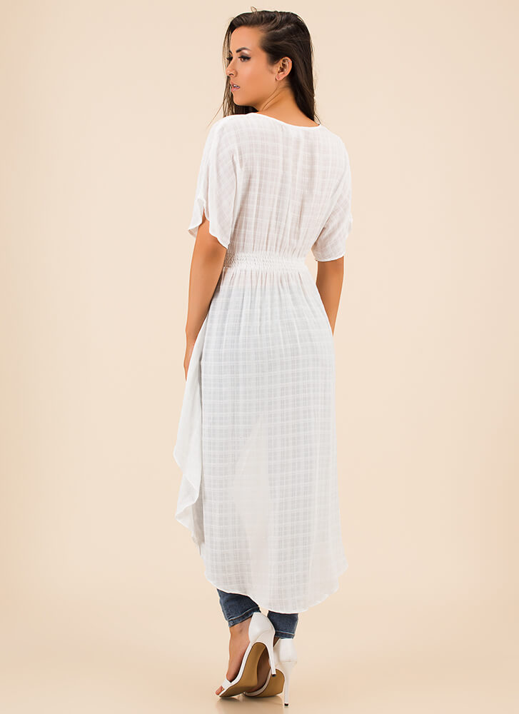 Go With The Flow Plunging High-Low Top WHITE