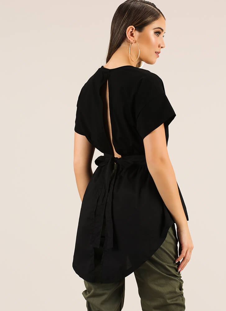 Ride My Shirttails Fit-And-Flare Top BLACK