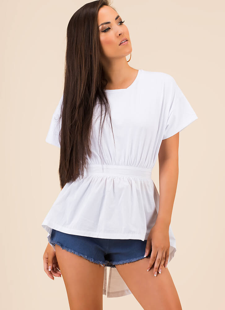 Ride My Shirttails Fit-And-Flare Top WHITE