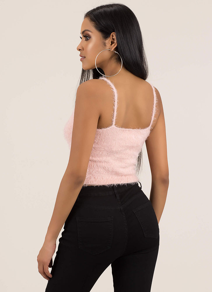 Fuzzy Memory Knit Cropped Tank Top BLUSH