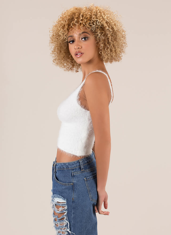 Fuzzy Memory Knit Cropped Tank Top WHITE