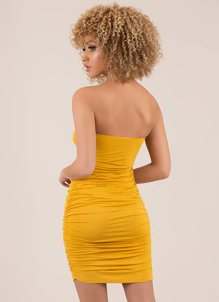 X's Unite Strapless Ruched Minidress MUSTARD