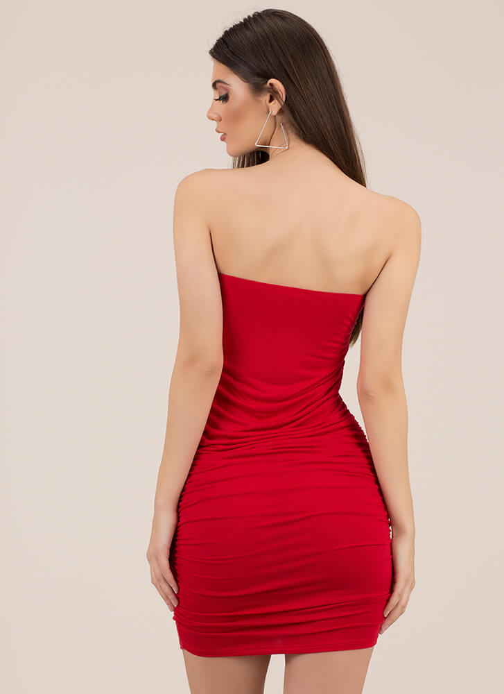 X's Unite Strapless Ruched Minidress RED