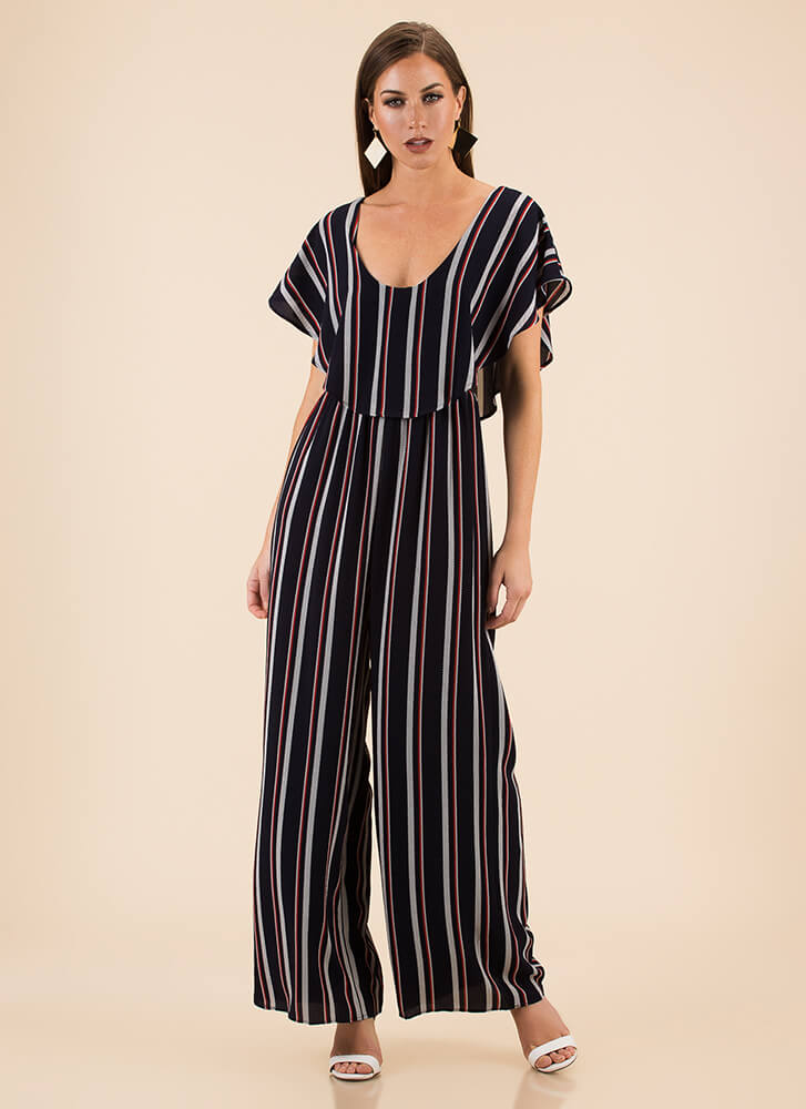 Chic Me Out Striped Palazzo Jumpsuit NAVY