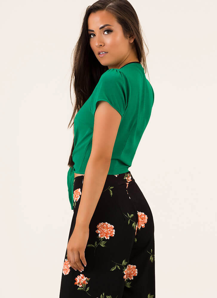 Knot Yours Buttoned Tie-Front Crop Top GREEN