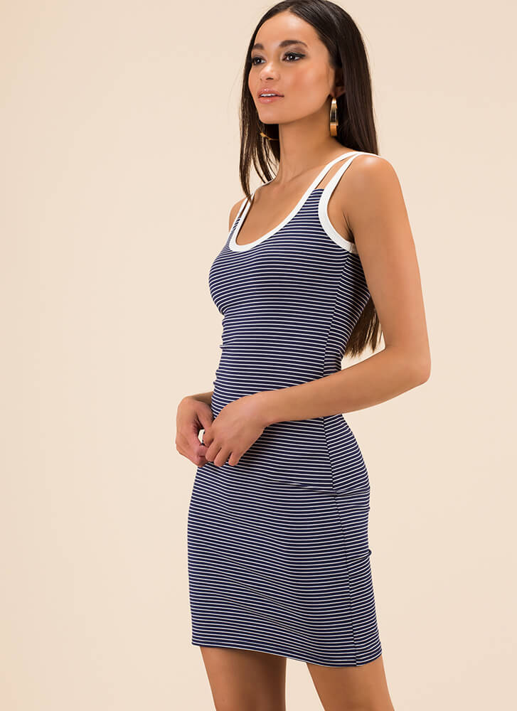 Seeing Double Strappy Striped Dress NAVY