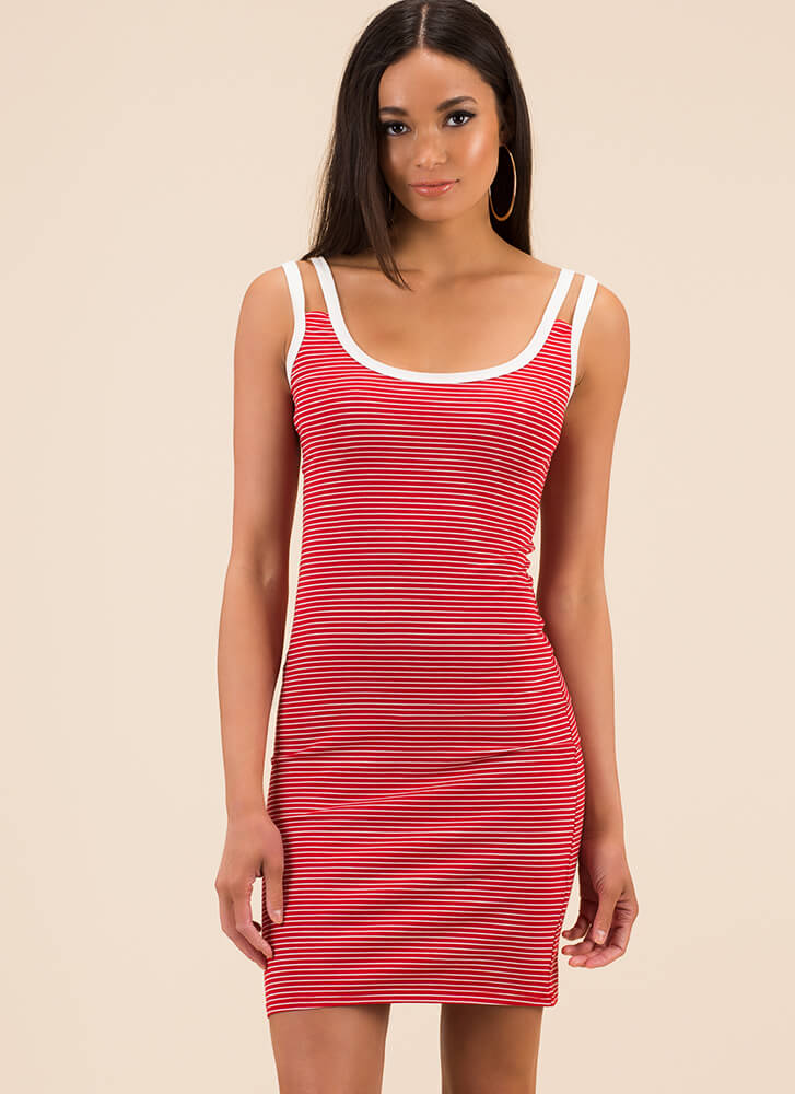Seeing Double Strappy Striped Dress RED