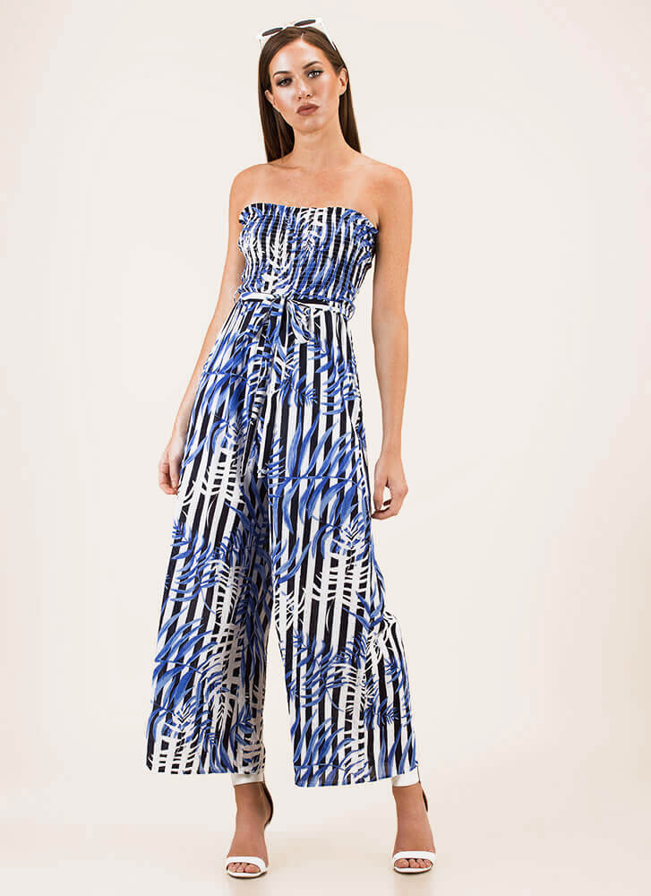 Leaf No Trace Strapless Striped Jumpsuit BLUE