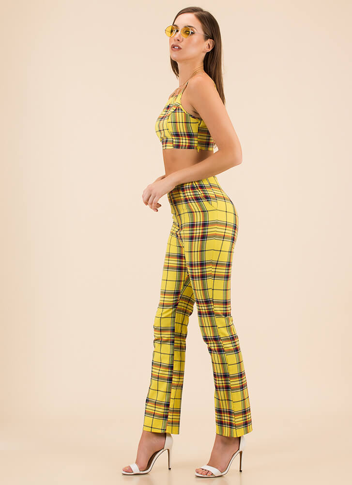 Plaid For Your Health Top And Pant Set YELLOW