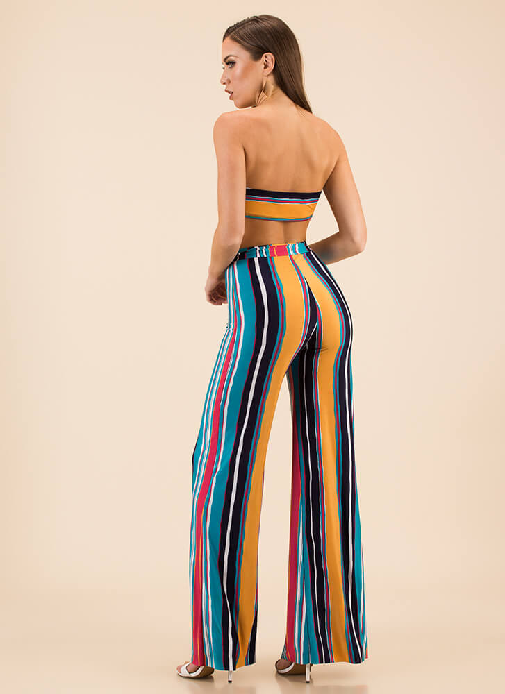 Retro Vibes Striped Top And Pant Set MULTI