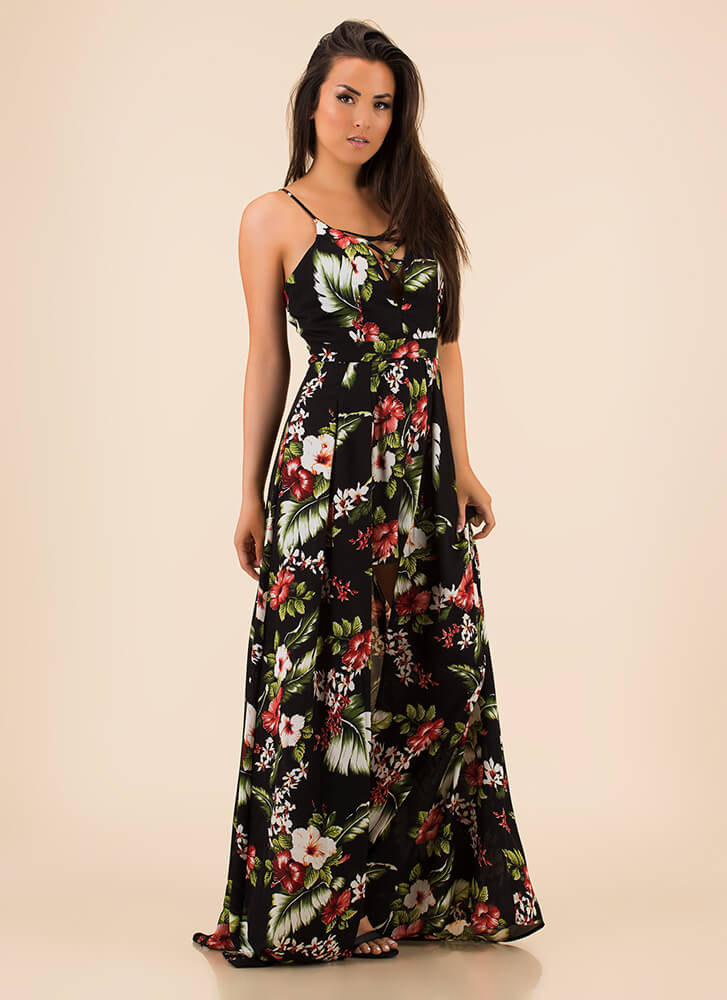 Showing Growth Floral High-Low Maxi BLACK