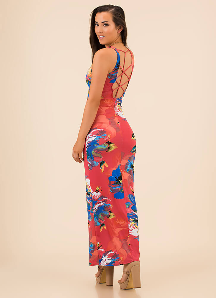 Fall In Love Strappy Back Floral Maxi CORAL