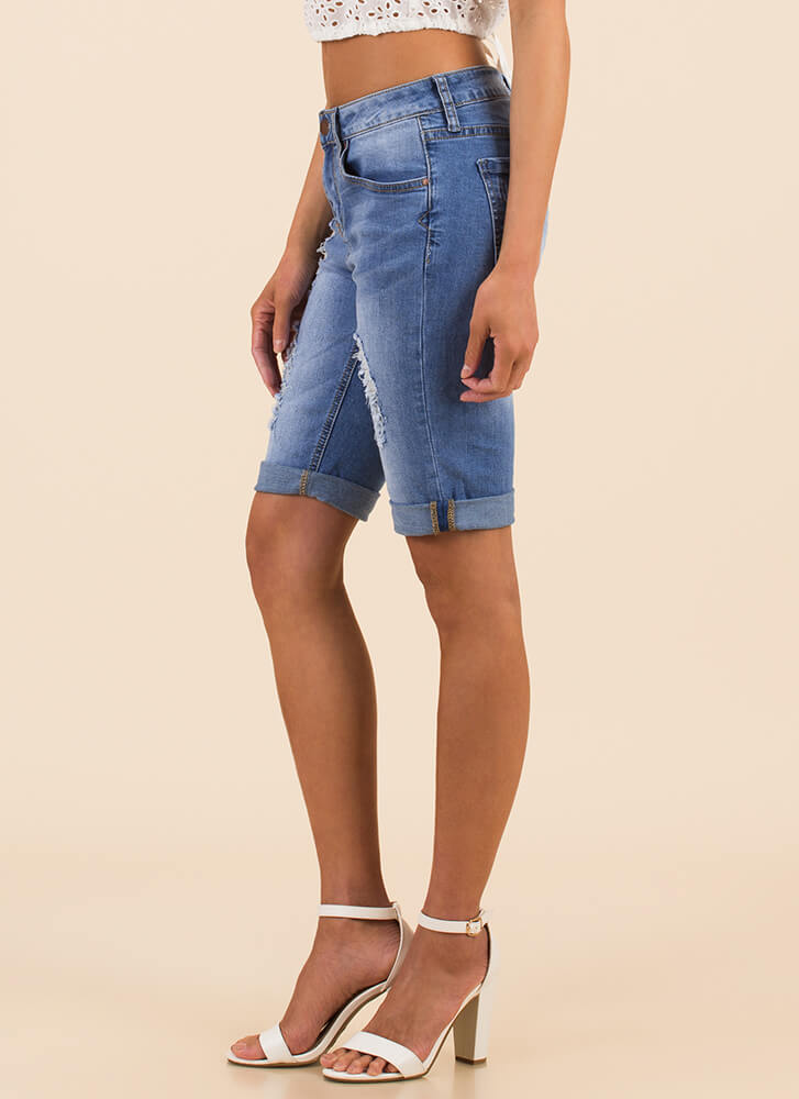 Distressed Call Denim Bermuda Shorts MEDBLUE