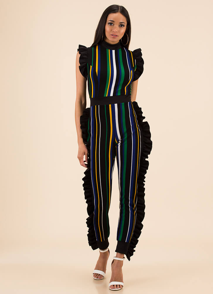 Frill Seekers Ruffled Striped Jumpsuit GREENMULTI