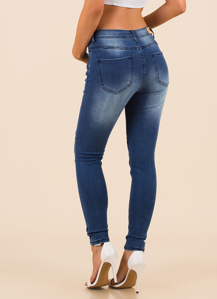 Zip Through My Day Moto Skinny Jeans MEDBLUE