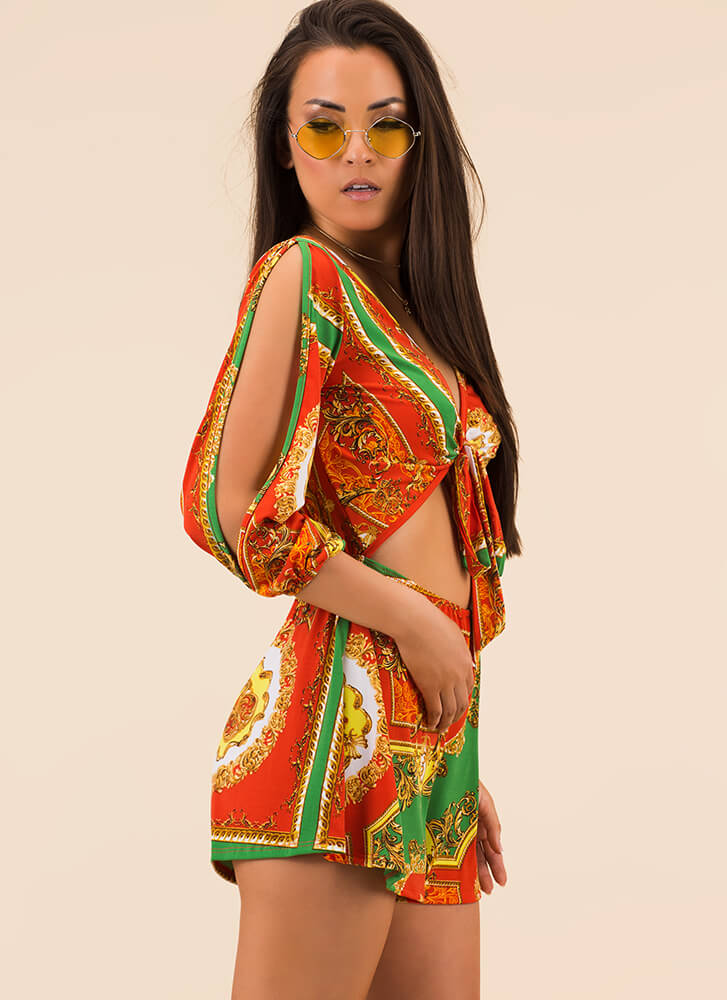 Highly Decorated Knotted Baroque Romper ORANGE