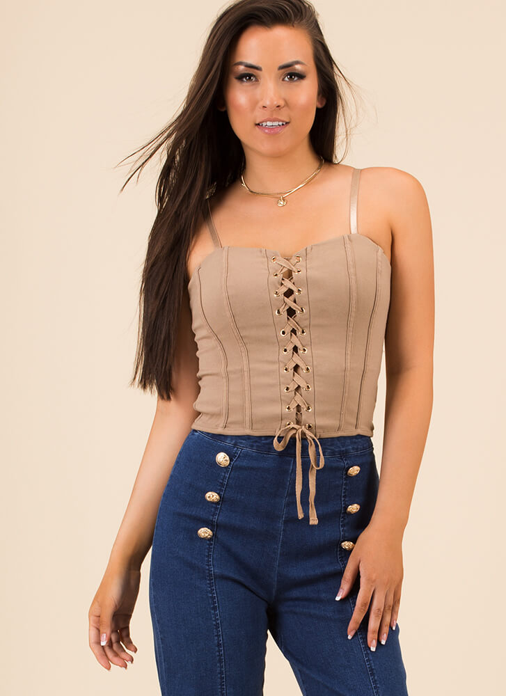 Par For The Corset Lace-Up Tank Top TAUPE
