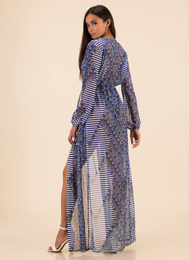 Pool Party Mixed Print Mesh Duster BLUE