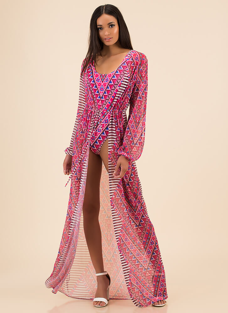 Pool Party Mixed Print Mesh Duster PINK