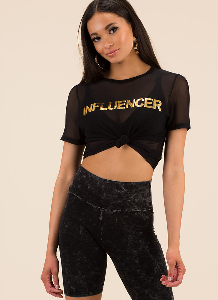 Fashion Influencer Sheer Graphic Tee BLACK