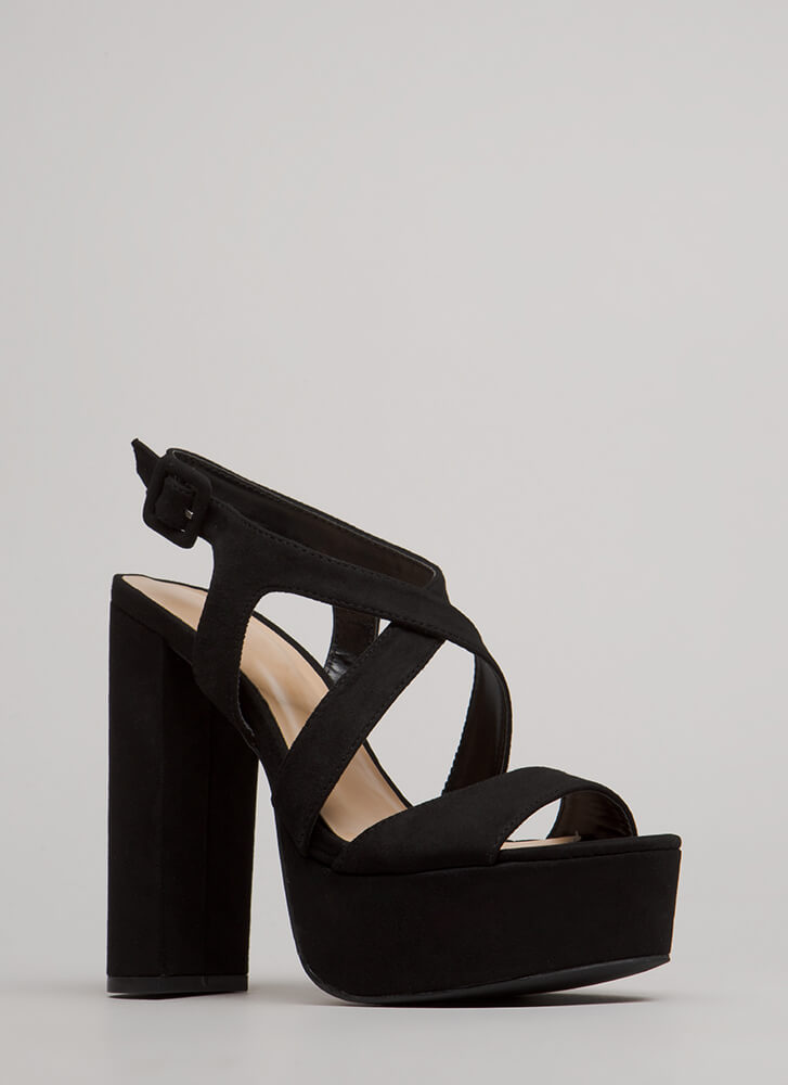 All Night Long Strappy Chunky Platforms BLACK
