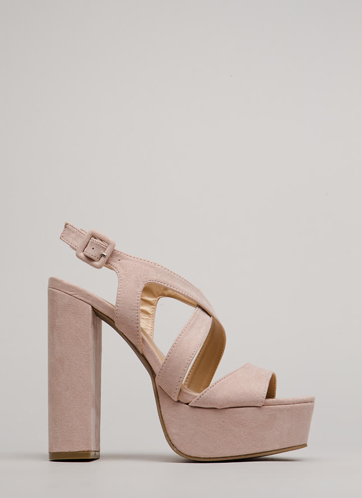 All Night Long Strappy Chunky Platforms BLUSH