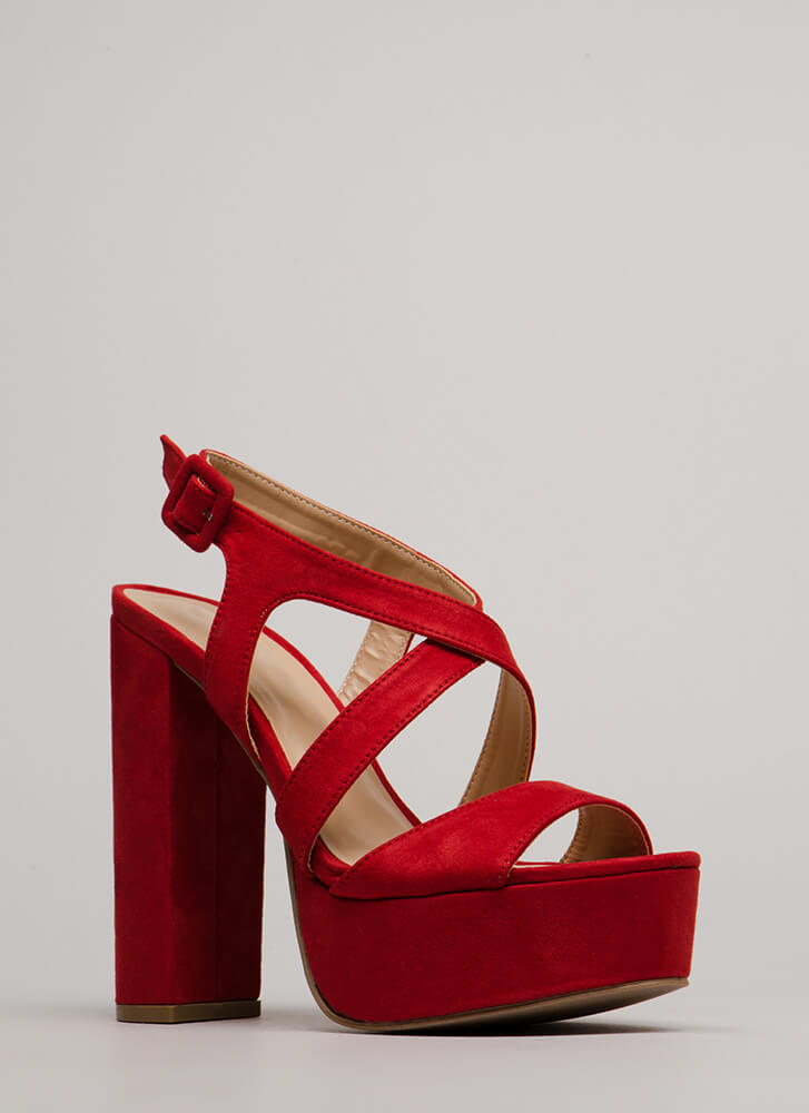 All Night Long Strappy Chunky Platforms RED