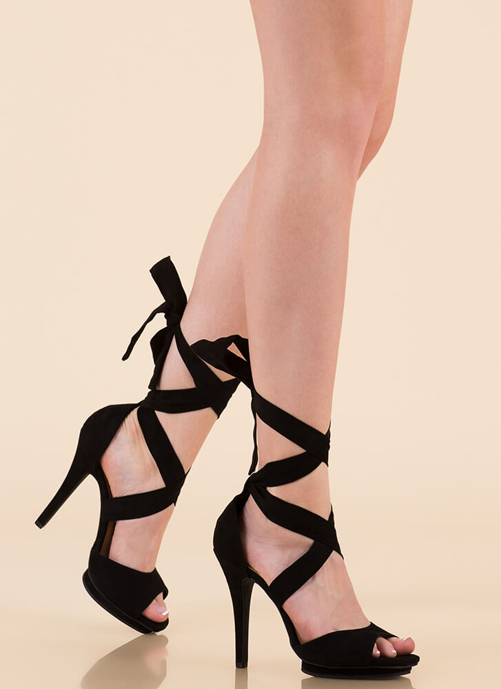 How Do You Stack Up Lace-Up heels BLACK