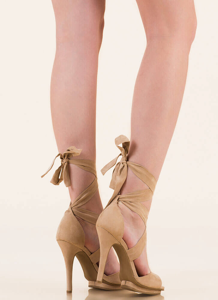 How Do You Stack Up Lace-Up heels NATURAL