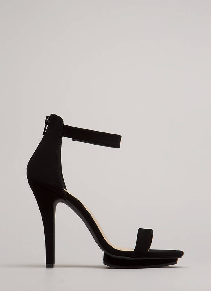 How Do You Stack Up Faux Nubuck Heels BLACK