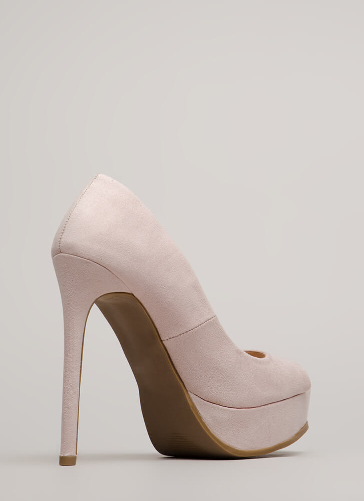 Get High Peep-Toe Stiletto Platforms NUDE