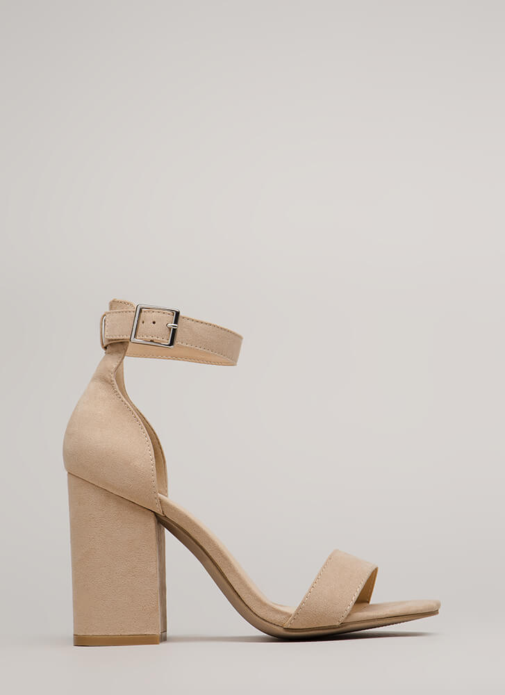 Stand My Ground Strappy Block Heels NATURAL