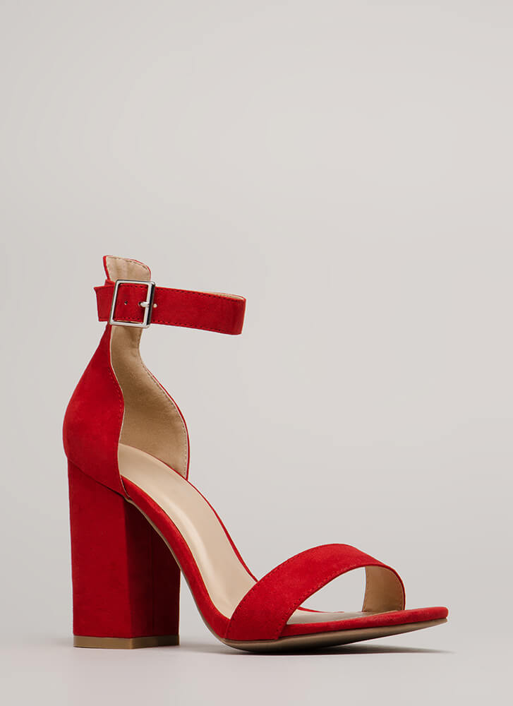 Stand My Ground Strappy Block Heels RED