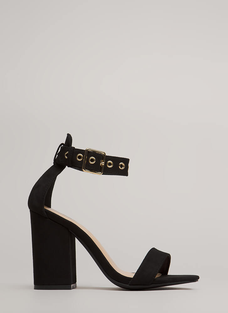 Stand Your Ground Strappy Block Heels BLACK