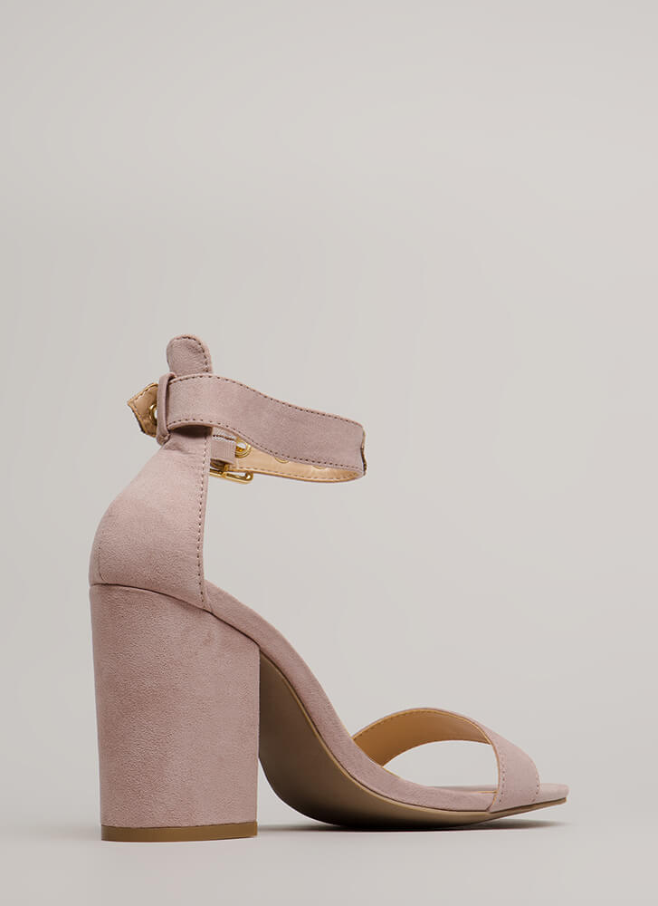 Stand Your Ground Strappy Block Heels MAUVE