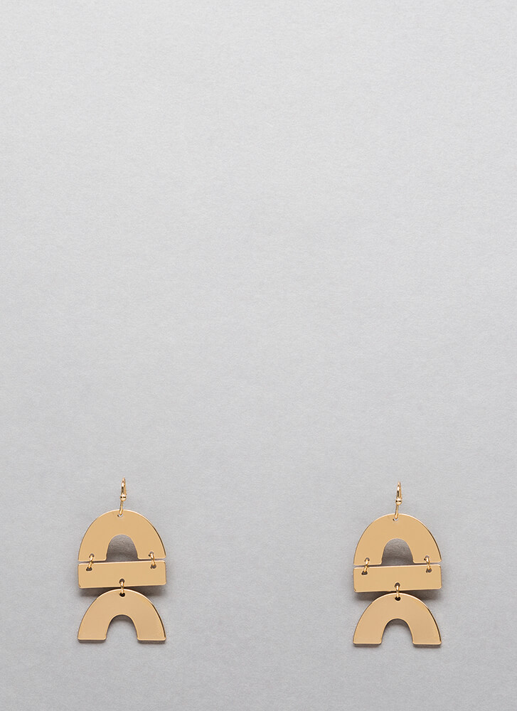 Double Rainbow Hinged Plate Earrings GOLD