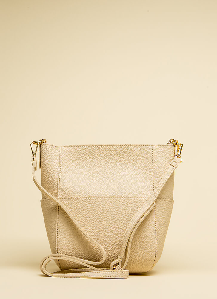 Chic Style Faux Leather Handbag BEIGE