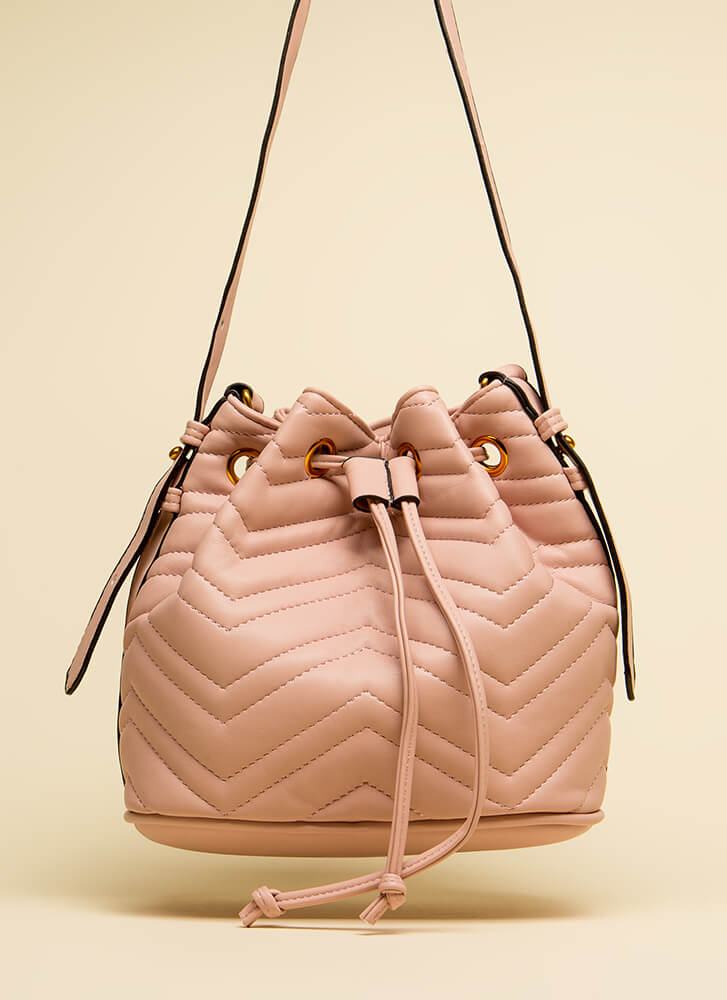 You've Got Options Quilted Bucket Bag PINK