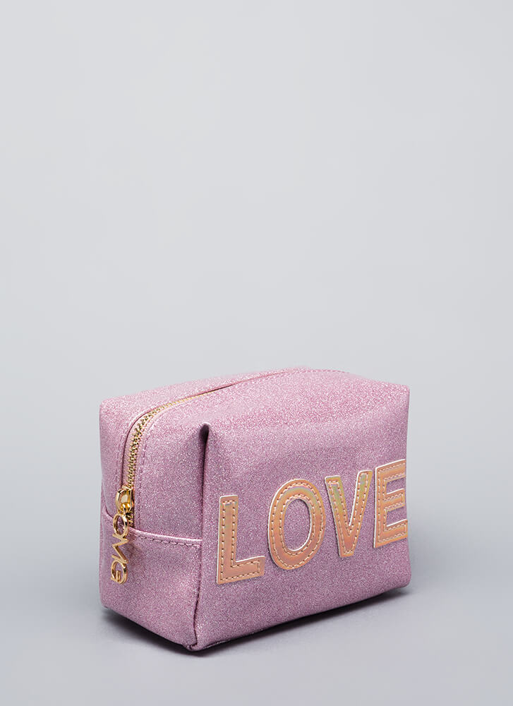 Love Your Face Glittery Makeup Pouch PINK